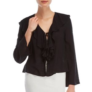 LuLus Black Blouse NWT Ruffle Tie Front Top Small